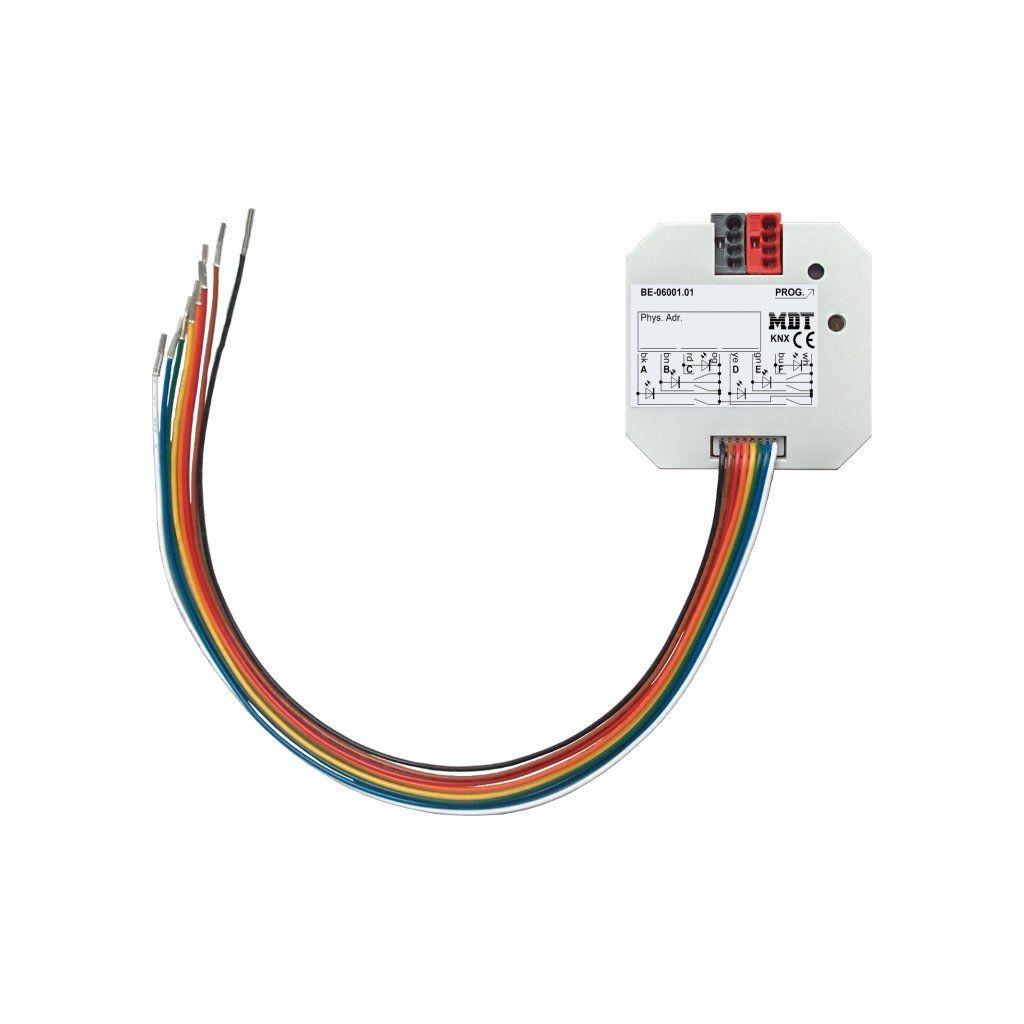 MDT BE-06001.01 / Интерфейс универсальный KNX для беспотенциальных контактов, 6-канальный, LED индикация, до 1.5мА