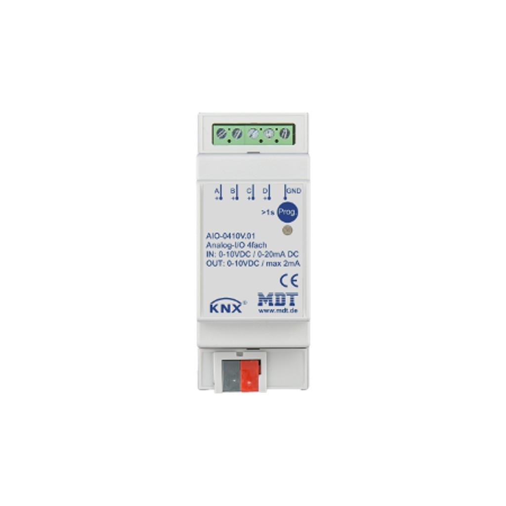 MDT AIO-0410V.01 / Модуль универсальный ввода-вывода KNX, 4-канальный, ввод: 0-10В