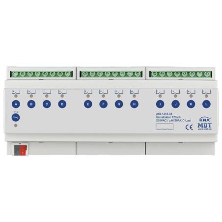 MDT AKI-1216.03 / Актуатор релейный KNX, 12-канальный, 230VAC, 16/20A