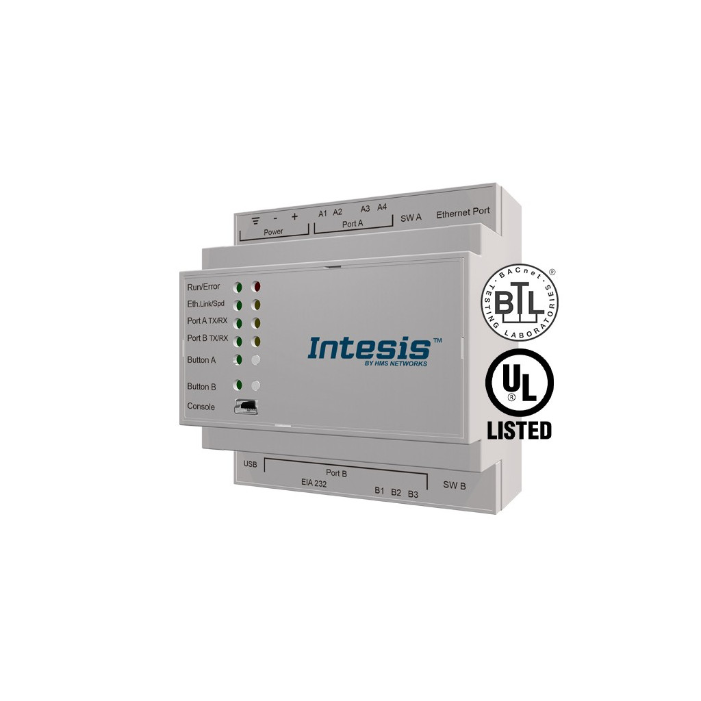 Intesis IBOX-ASCII-BAC-B / BACnet IP MS/TP Client to ASCII IP Serial Server Gateway - 3000 points