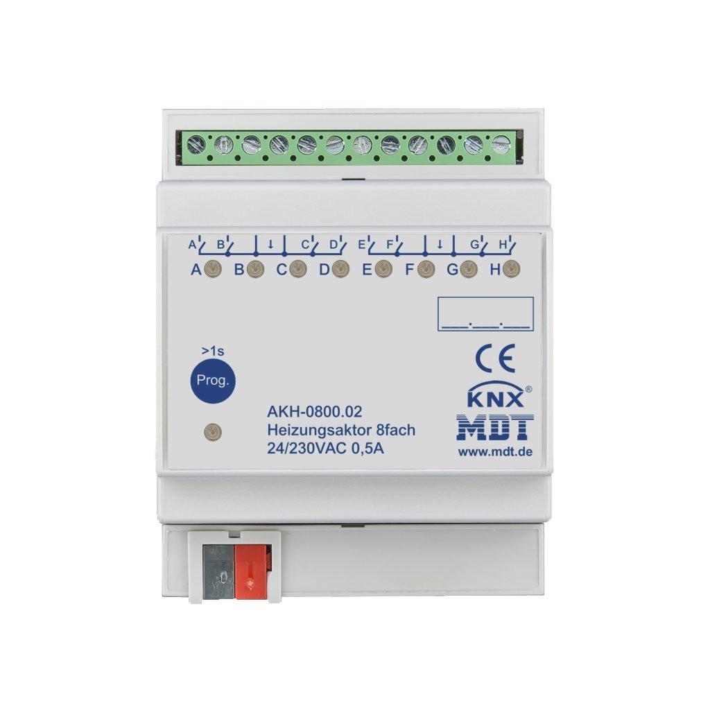 MDT AKH-0800.02 Модуль управления термоэлектрическими клапанами KNX, 8-канальный, до 5 клапанов на канал, 24-230VAC