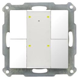 MDT BE-TA55P4.G1 / Выключатель кнопочный KNX 2-канальный (4 кнопки), фоновая подсветка, цвет глянцевый белый