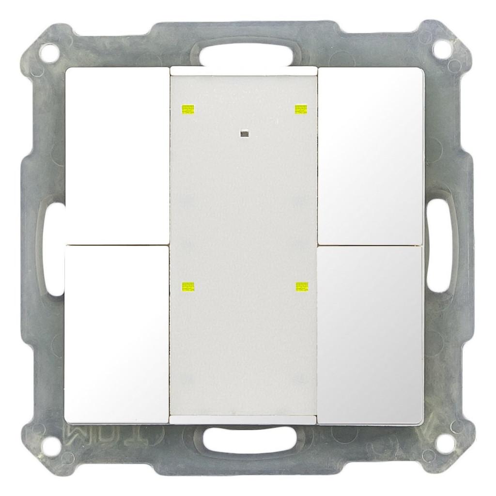 MDT BE-TA55P4.G1 Выключатель кнопочный KNX 2-канальный (4 кнопки), фоновая подсветка, цвет глянцевый белый