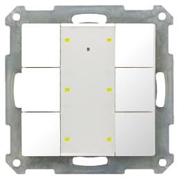 MDT BE-TA55P6.G1 / Выключатель кнопочный KNX 3-канальный (6 кнопок), фоновая подсветка, цвет глянцевый белый