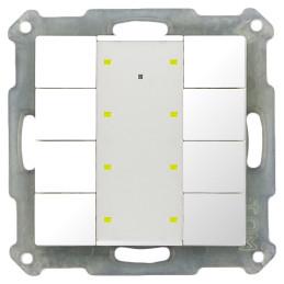 MDT BE-TA55P8.G1 / Выключатель кнопочный KNX 4-канальный (8 кнопок), фоновая подсветка, цвет глянцевый белый