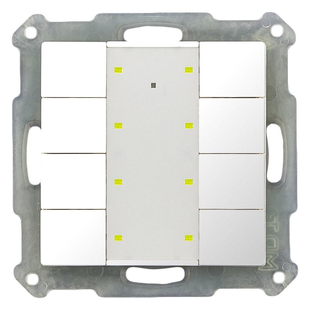 MDT BE-TA55P8.G1 Выключатель кнопочный KNX 4-канальный (8 кнопок), фоновая подсветка, цвет глянцевый белый