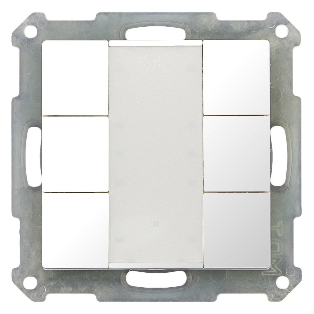 MDT BE-TA5506.G1 Выключатель кнопочный KNX 3-канальный (6 кнопок), цвет глянцевый белый