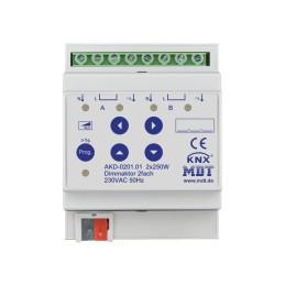 MDT AKD-0201.01 Диммер универсальный KNX, 2-канальный, нагрузка 12-250 Вт/ВА, выход 230VAC