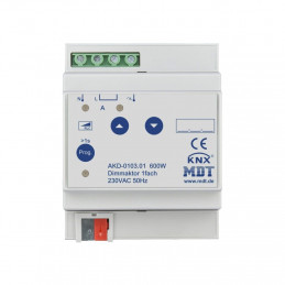 MDT AKD-0103.01 Диммер универсальный KNX, 1-канальный, нагрузка 20-600 Вт/ВА, выход 230VAC