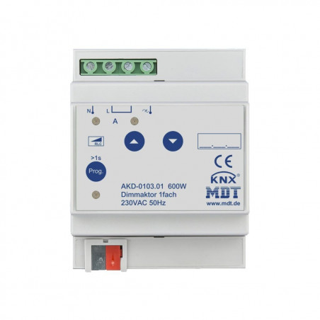 MDT AKD-0103.01 / Диммер универсальный KNX, 1-канальный, нагрузка 20-600 Вт/ВА, выход 230VAC