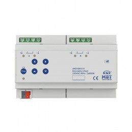 MDT AKD-0203.01 Диммер универсальный KNX, 2-канальный, нагрузка 20-600 Вт/ВА, выход 230VAC