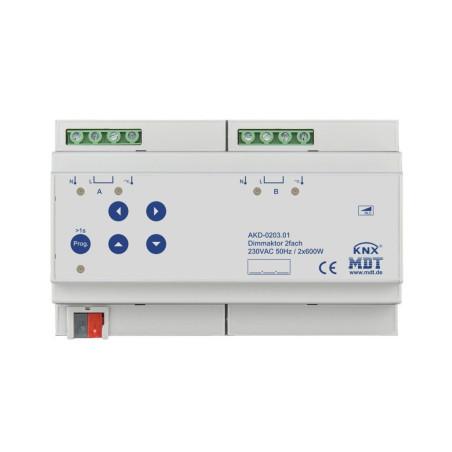 MDT AKD-0203.01 / Диммер универсальный KNX, 2-канальный, нагрузка 20-600 Вт/ВА, выход 230VAC